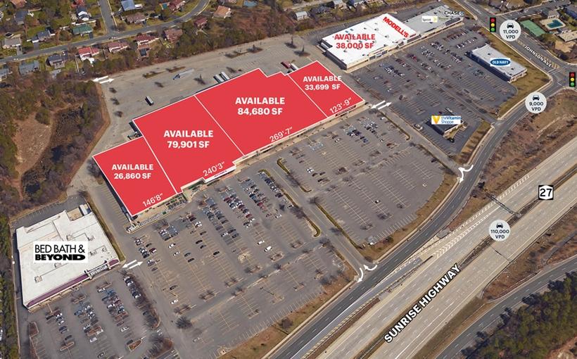 Sayville Shopping Plaza Bohemia NY aerial view