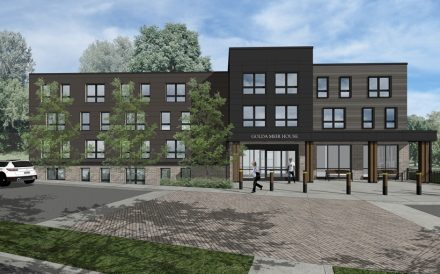recent expansion of seniors housing in Newton MA by Masshousing. Rendering o Golda Meir House is attached