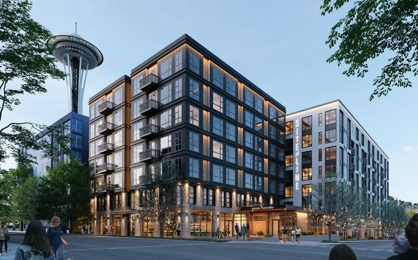 Siteline, an eight-story mixed-use building located next to Seattle Center